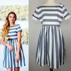 Shabby Apple Kai Dress Pockets Striped